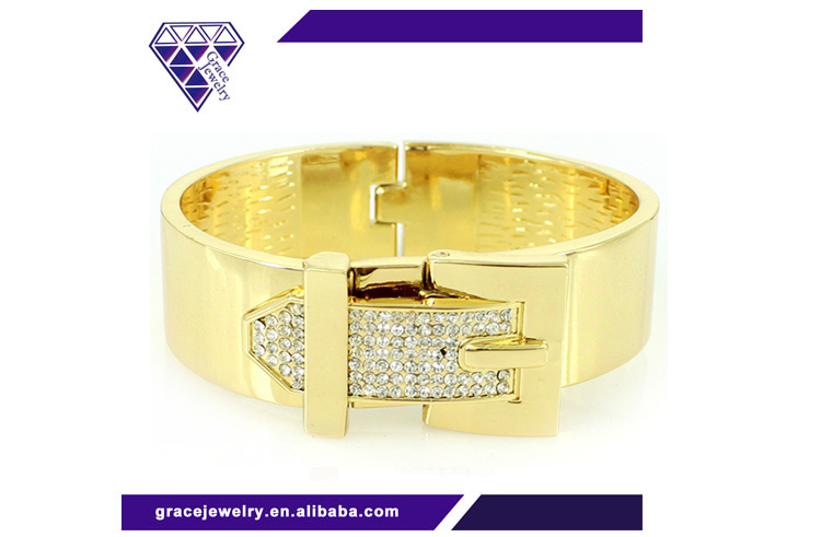 Korean Fashion Belt Buckle Pave Crystal Bangles
