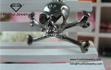 Fashion punk style skull brooch new fashion gun black raw and bloody bones skull brooches