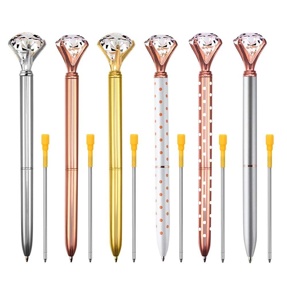 Coopay 6 Pieces Big Crystal Diamond Pens Metal Ballpoint Pens Black Ink with 6 Pieces Ballpoint Pen Refills
