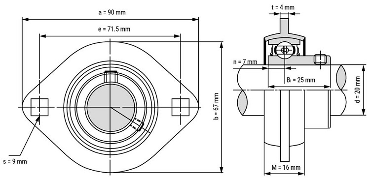 SBPFL204 Pressed Steel Oval Flange Housing Unit With Narrow Inner Bearing Insert Set Screw Locking