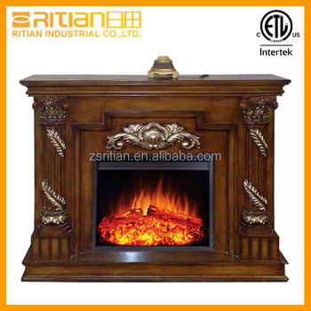 Decorative Fire Flames Electrical Fireplace Anique Wood Fake ...