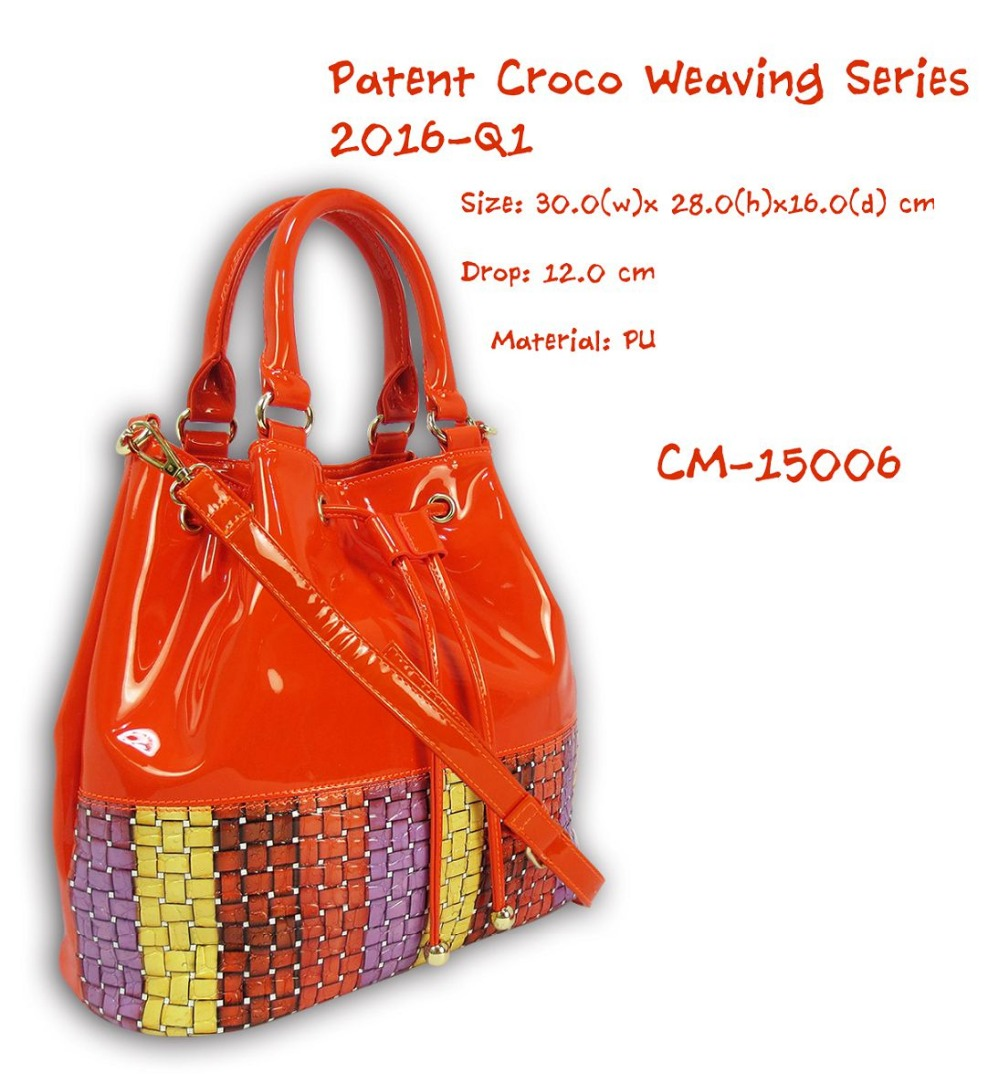 New Patent Croco Weaving Dual Handbag