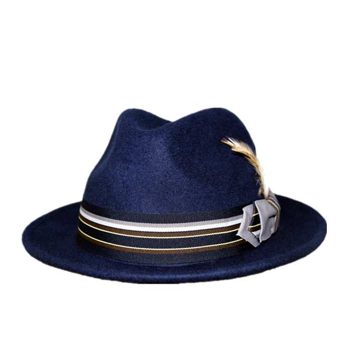 5918b4f901f Wholesale mens navy wool felt fedora hat with mix color band and feather  trim