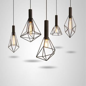 Iron Lighting Vintage Polygon Wire Pendant Light Art Deco Lamp Irregular Metal Lights Modern Special