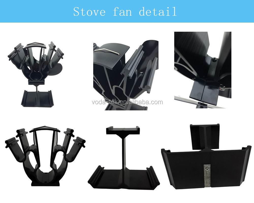 aluminum alloy silver ecofan wood burning heat powered stove fan