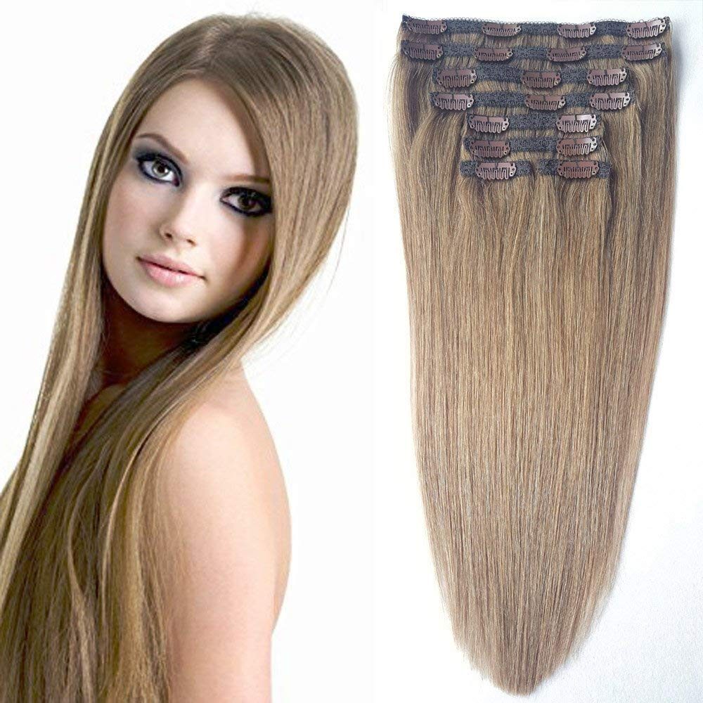 """Brown Human Hair Extensions Clip On, Re4U Hair 20"""" 100g Real Human Hair #8 Light Chestnut Brown with 20 Clips on Lace Weft for Full Head(20"""" 8pcs 3.5oz #8)"""
