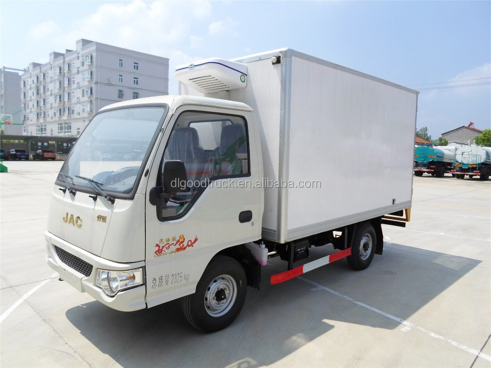 Jac 4x2 mini refrigerator truck with gasoline engine 82hp Fridge motors for sale