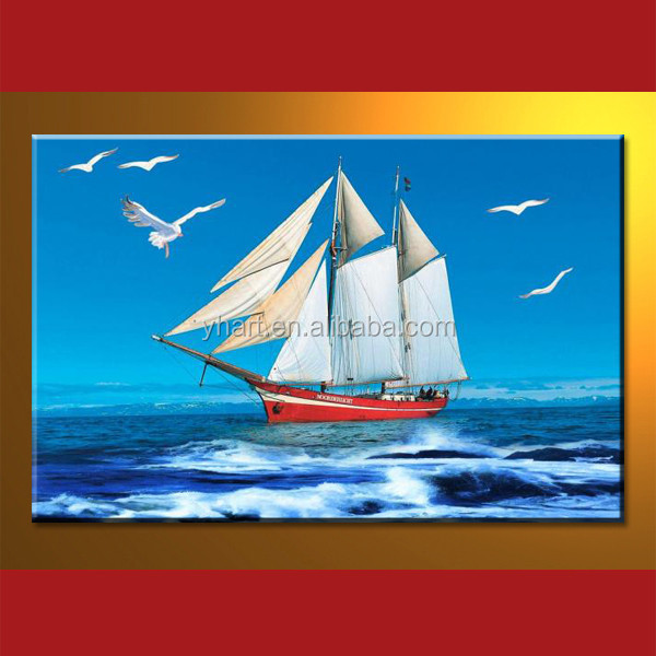 Wholesale handmade oil paintings of boat in sea