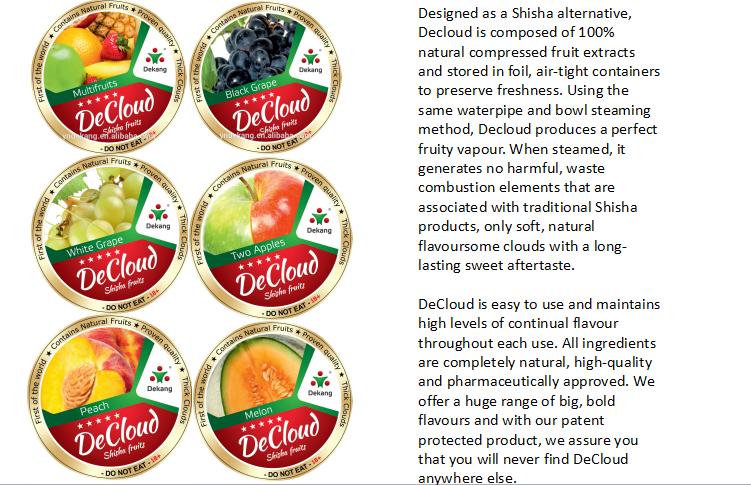 Decloud 100% real fruits shisha perfect hookah fresh taste-longer time stable hookah shisha
