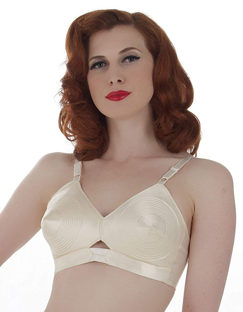 82366e2768d02 Get Quotations · What Katie Did Vintage Peach Satin Padded Bullet Bra L6035