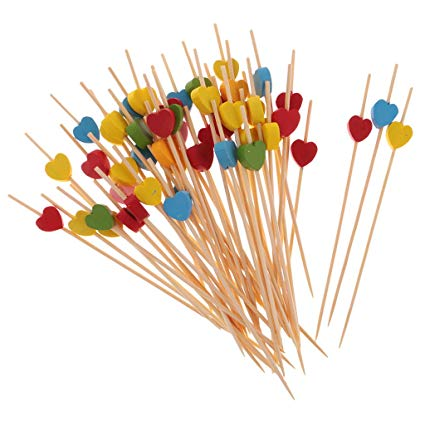 Hot Koop Cocktail Sticks Decoratieve Bamboe Hartvormige Picks