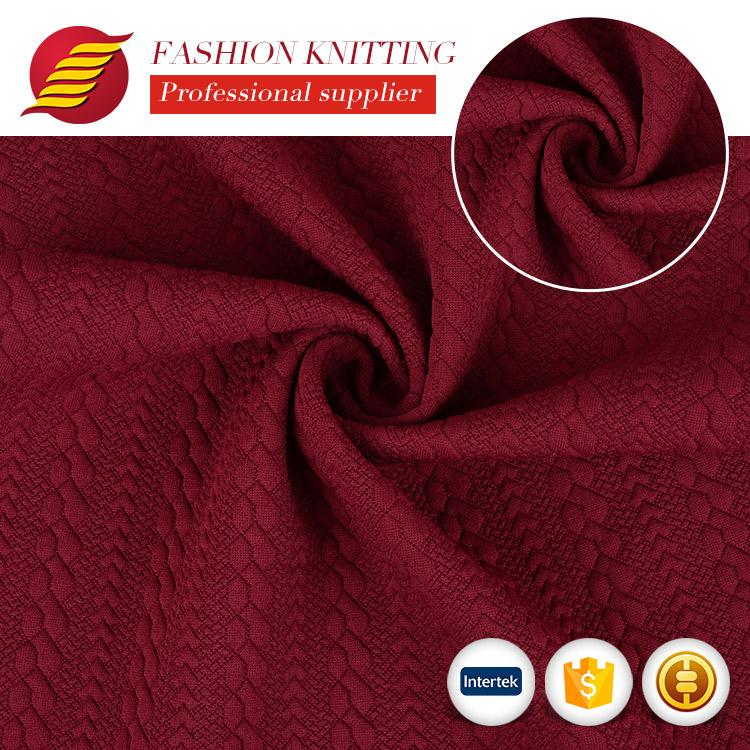 professional jacquard coolmax knitted cable knit fabric sweater fabric