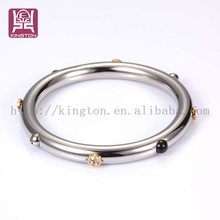 High polishing stainless steel unique beads embedding bangles