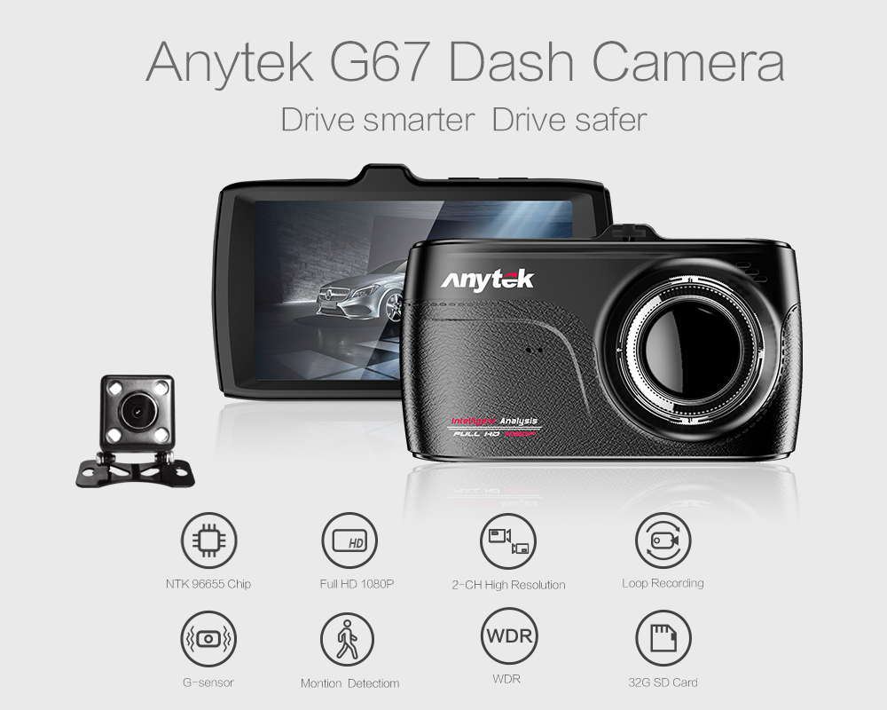 G67 car dashcam dvr 3.5'' touch panel full hd 1080p gravity sensor Driving Recorder with wifi,gps and super night vision