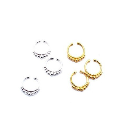 Non Piercing Flower Petals Indian Gold Septum Ring Clip on Fake