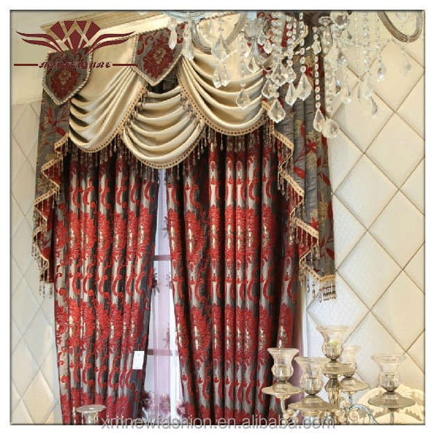 Elegant Living Room CurtainSheer Red Curtain FabricEmbroidery Designs Curtains