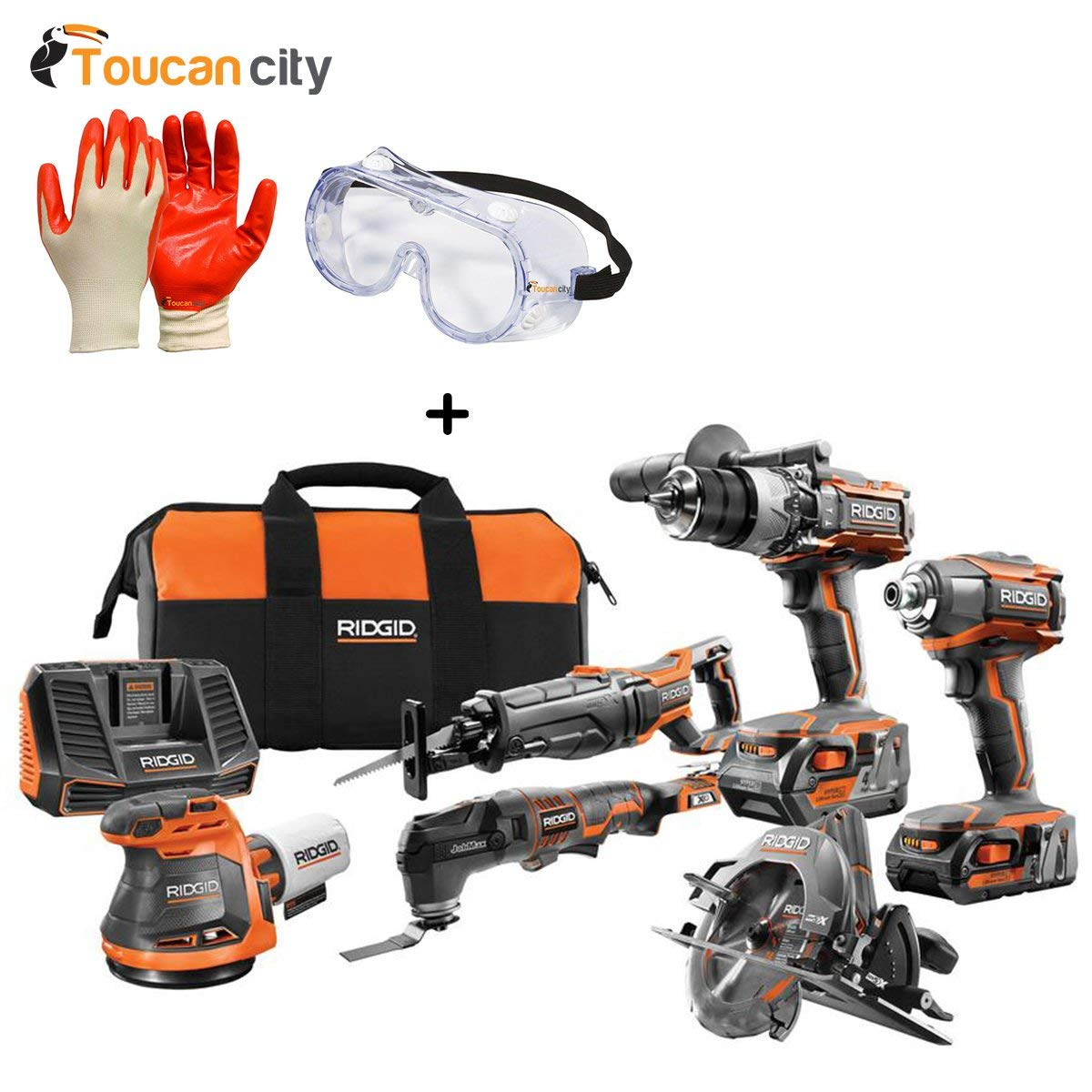 RIDGID 18-Volt Gen5X Cordless 6 Piece Combo Kit with (1) 4.0 Ah Battery and (1) 2.0 Ah Battery, Charger, Bag R9625N and Toucan City Nitrile Dip Gloves(5-Pack) with Safety Goggles
