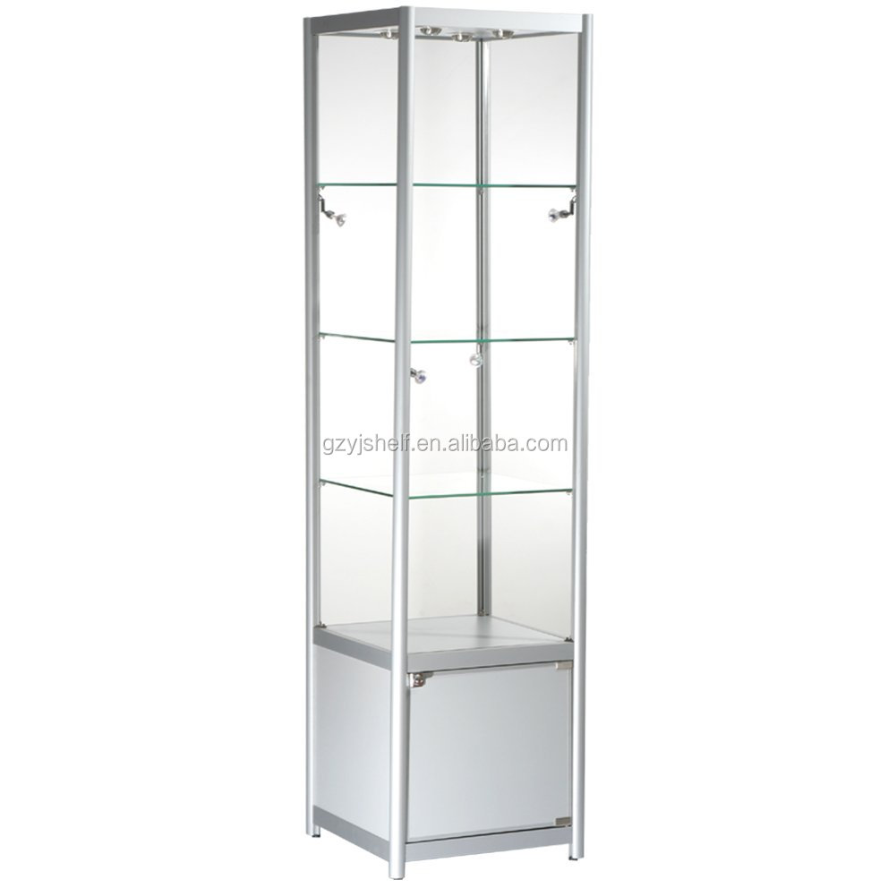 Glass aluminum display case cheap storage cabinet with - Vitrina cristal ikea ...