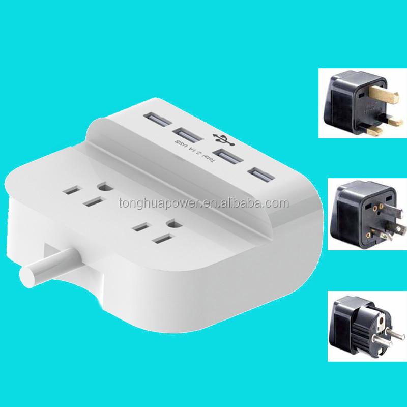 UL Listed 2-Outlet International Travel Voltage Converter with Interchangeable Worldwide UK/US/AU/EU <strong>Plugs</strong> + Dual USB Ports