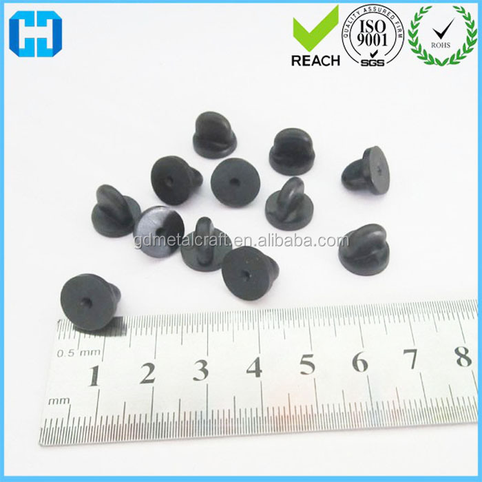 Clutch - Clasp - Fixings Black Plastic Rubber Pin Badge Backs