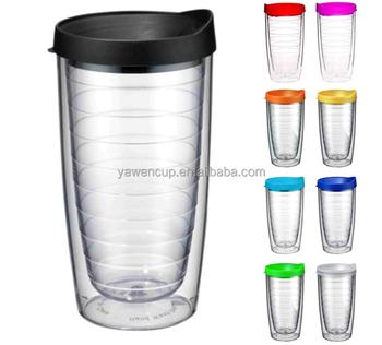 16oz Clear Acrylic Tumblers Double Wall Plastic Tumbler Cup Lid Straw Travel Mug Arylic