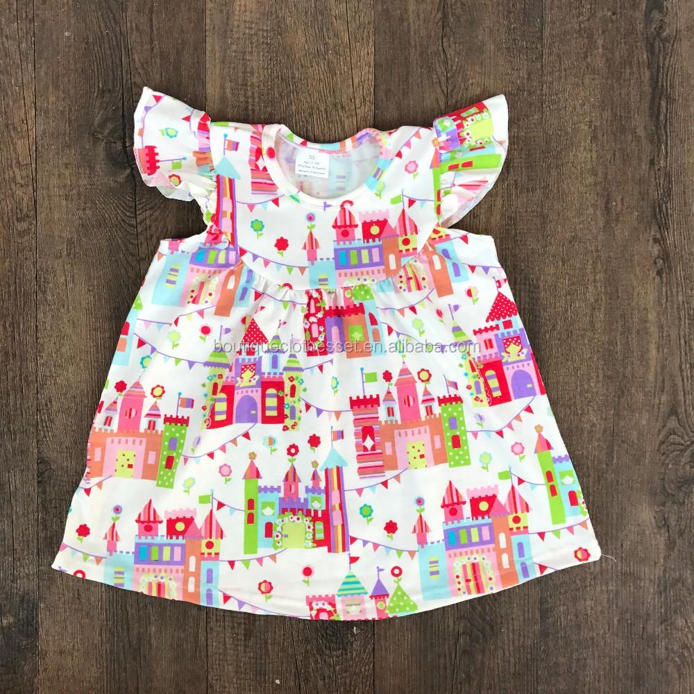 2017 Cheap Sale Flutter Seelve Girl Dress Ruffle Dress