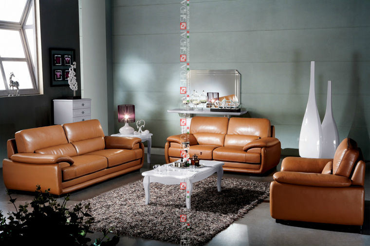 972 Modern Top Grain 6 Seater 3 2 1 Leather Sofa