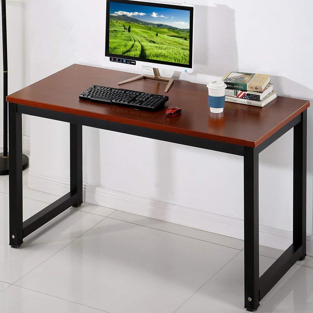"Computer Desk, 55.1"" PC Office Desk Workstation, Modern Simple Style Study Table Writing Desk, Teak + Black Leg"
