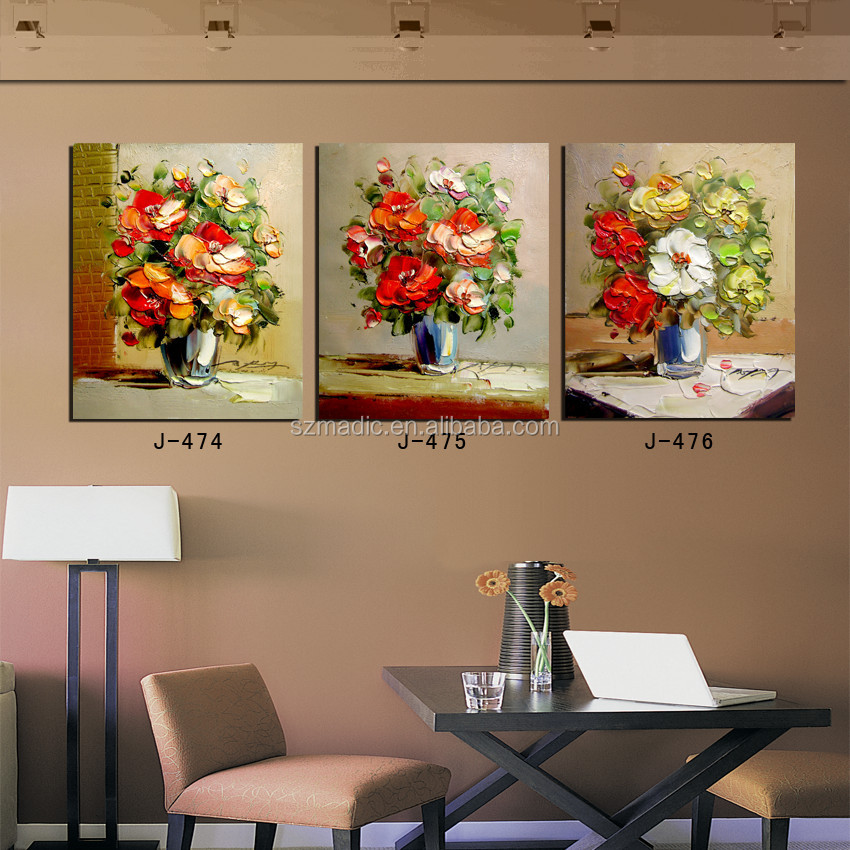 3 Panel Palette Knife Style Canvas Paintings Flowers in Vase Still Life Wall Art for Home Decoration