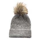 Fashion young elastic mohair fur top winter knitted beanie hat