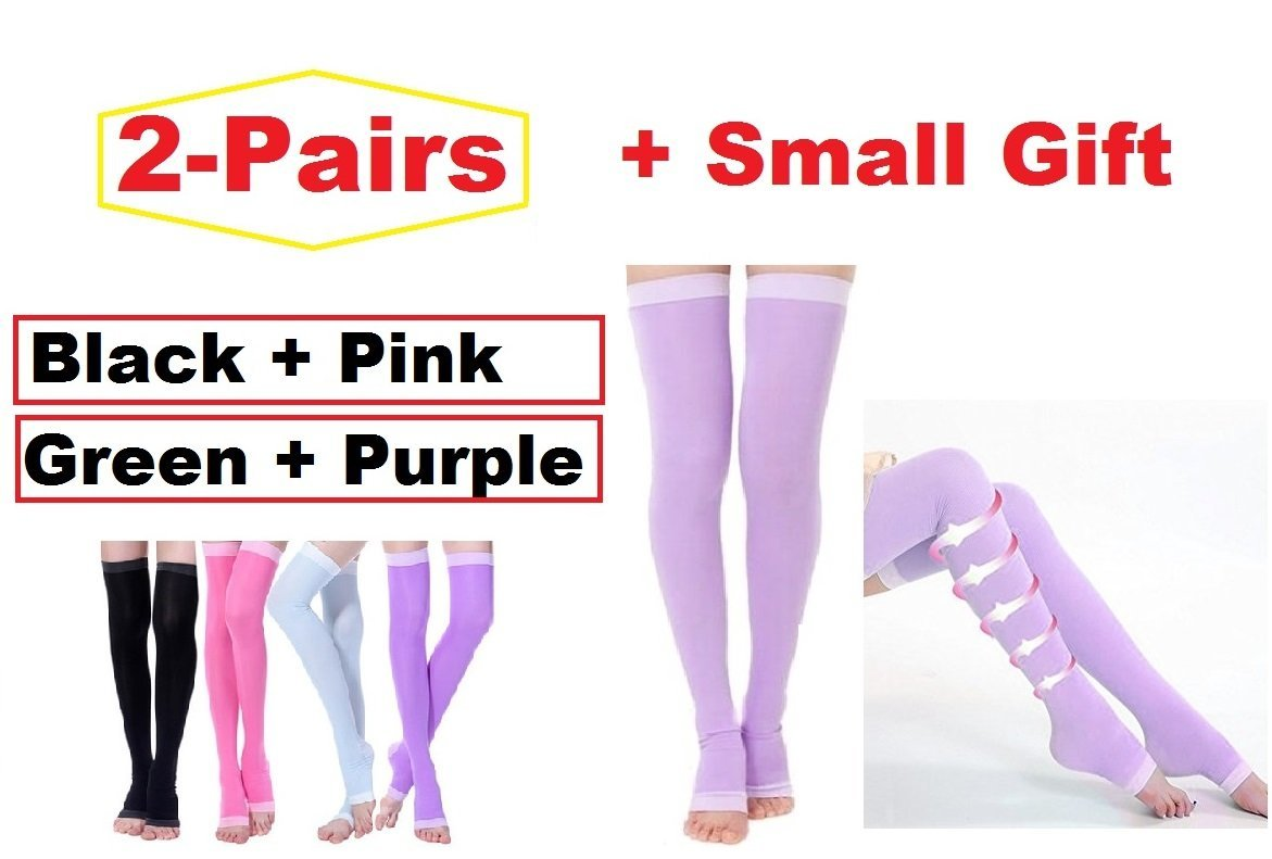 e2d7a4cf2 Get Quotations · 2Pair Yoga Sleep Therapeutic Thigh-high Compression Socks  Toeless 1size fit most + Small gift