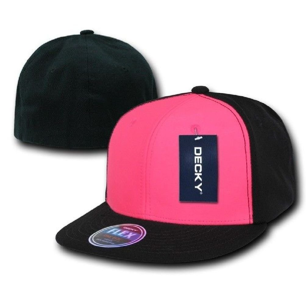 09cb96a33df Get Quotations · Black   Neon Pink Blank Solid Flex Retro Flat Bill Fit  Fitted Baseball Cap Hat