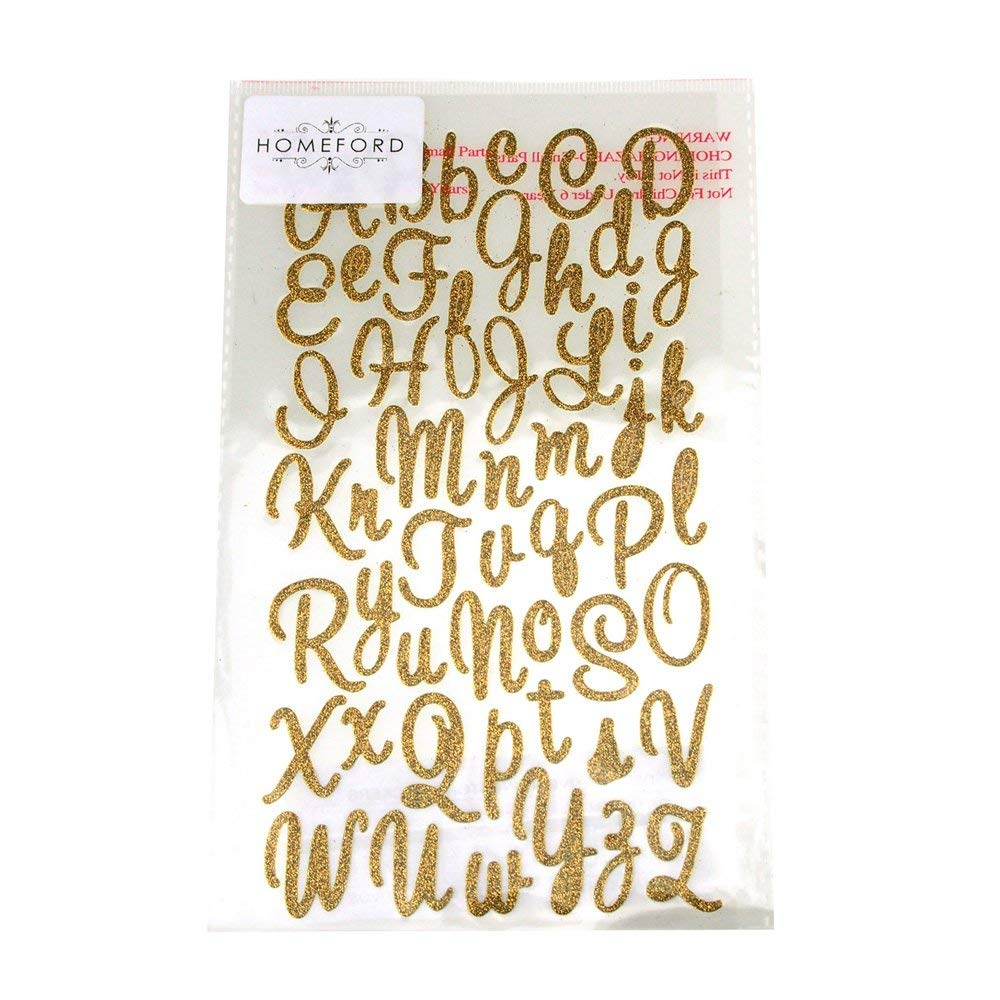Get quotations · homeford fva000000gs105gd glitter cursive alphabet letters stickers 1 gold