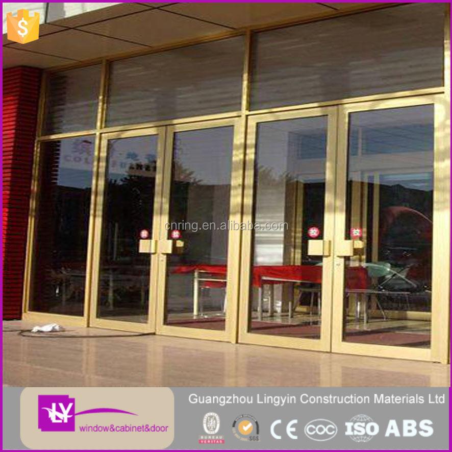 Hot Sale Good Quality Golden Aluminum Frame Glass Swing Reception ...