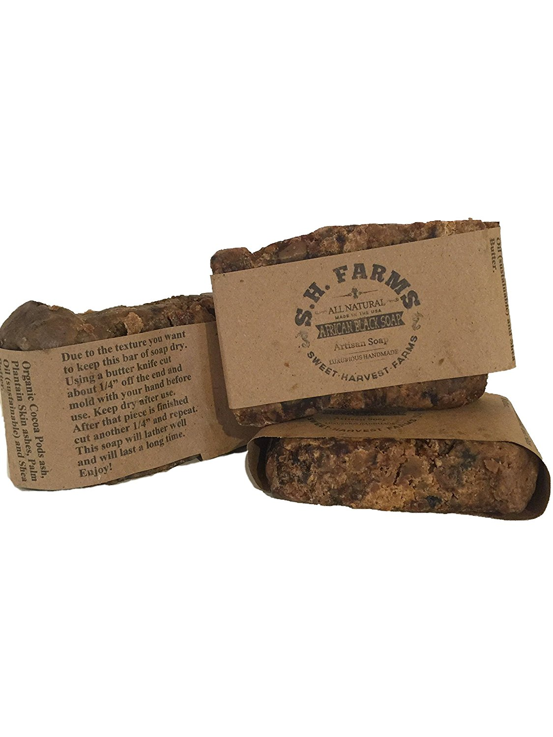 RAW African Black Soap - All Natural and Organic Ingredients- Best for Acne, Eczema, Psoriasis, Scars, and Dry skin -For Face & Body 100% Handcrafted Artisan Beauty Bar - Lasts 6-8 weeks!