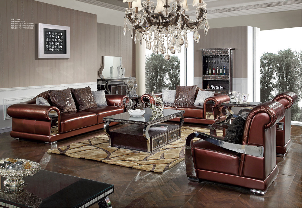 2015 New Design Living Room Furniture Luxury Leather