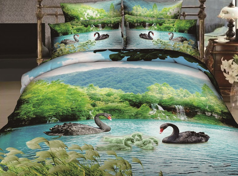 6pcs KOSMOS home collection queen size dark swan 3d printed bedding set for home