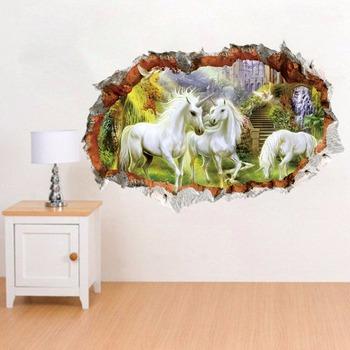 beautiful horse scenery wall decor 3d wall sticker - buy wall sticker