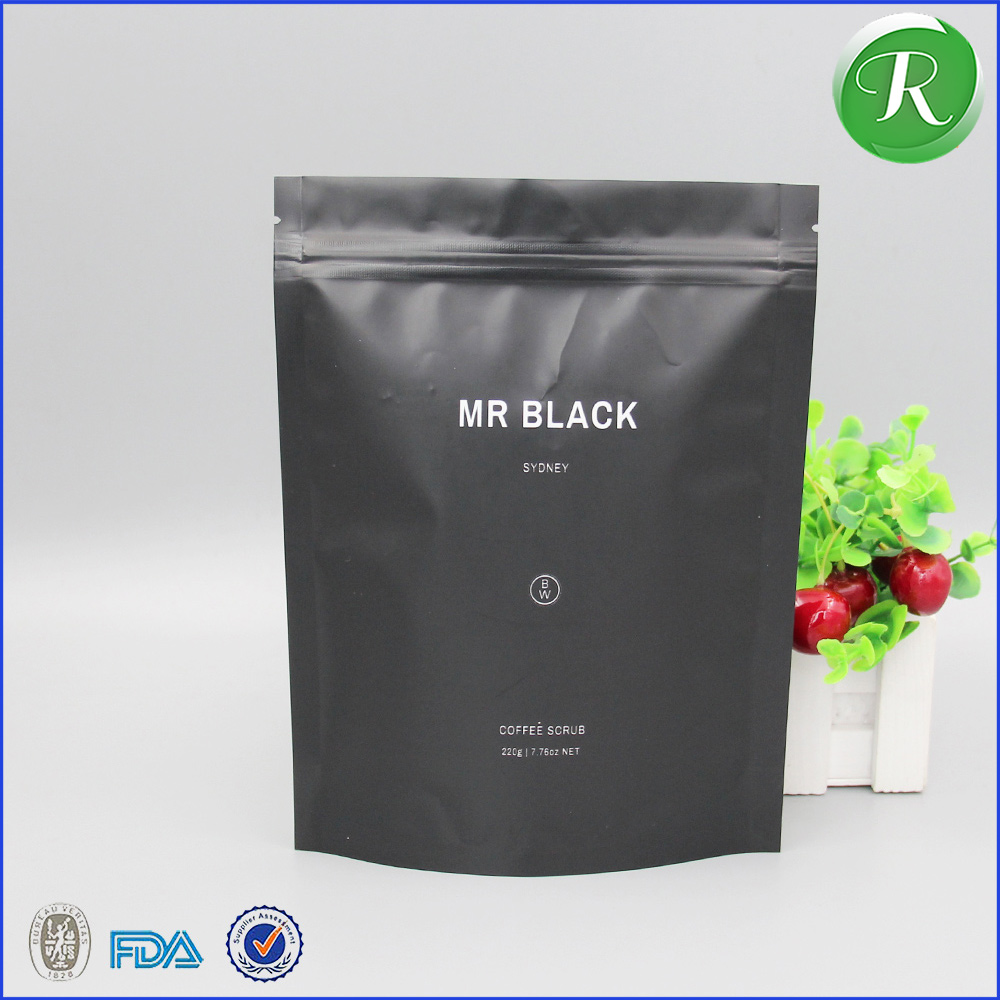 factory printed matte ziplock packaging pouch/matte black plastic bag