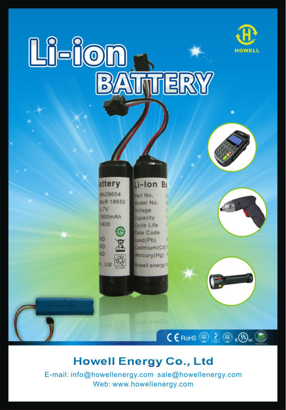 18650 lithium ion battery 2000mAh 3.7V with PCB