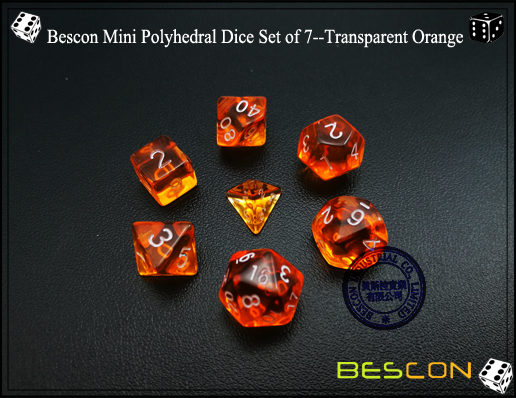 Bescon Mini Durchsichtig Polygonal W/ürfel Set 10mm- Small Transparente Mini Spielw/ürfel D/&D Dice Set of 7 Rollenspiel Polyedrische Dice Set D4-D20 in Tube Kleine RPG Transparente Yellow