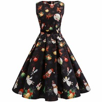Women Fall 2017 Vintage Dress New Large Size Women Christmas Snown Printing Mesh Lace Party Women Dress