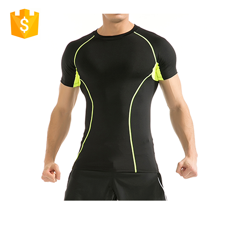2017 sports t shirts custom slim fit black men gym running wear