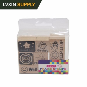 7 Pack Wooden Customized Rubber Stamp for Children