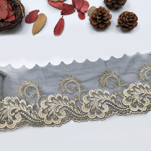 African market different pattern styles polyester mesh fabric lace trim import from China