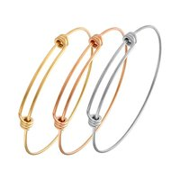 Wholesale rose gold silver Adjustable Expandable Wire Blank 316L Stainless Steel Bangle Bracelet Jewelry Accessories