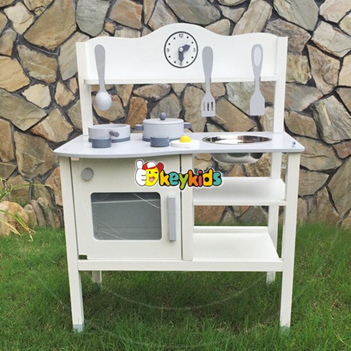 2017 wholesale baby white wooden toy kitchen new design kids wooden toy kitchen top fashion kids wooden toy kitchen W10C253