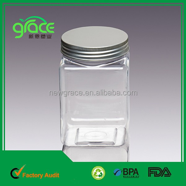 BPA free aluminium silver cap 16 oz 500ml square empty transparent plastic food PET Jar