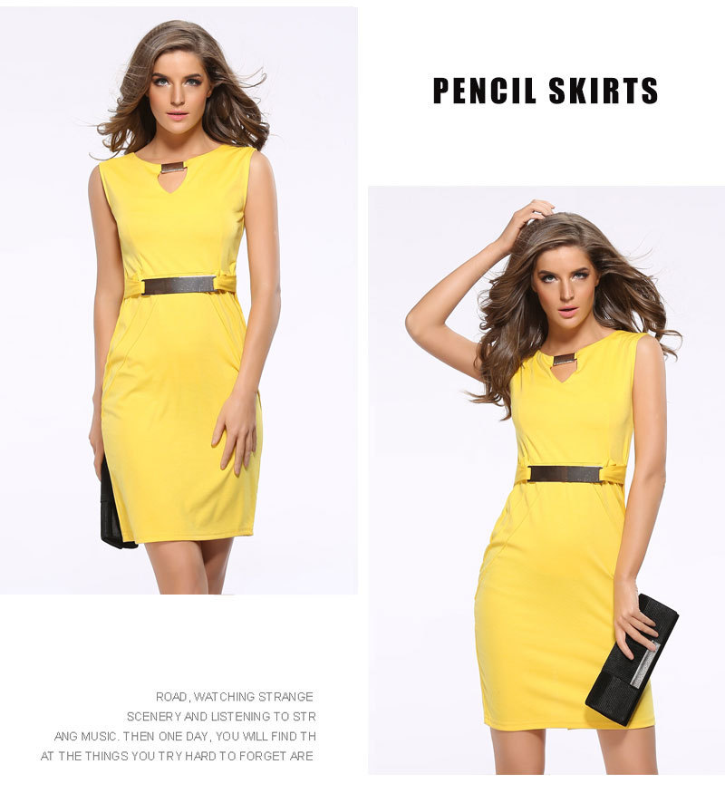 ceb905c6c46c 2017 Fashion lady formal office party casual dresses plus size sleeveless  summer pencil women dress