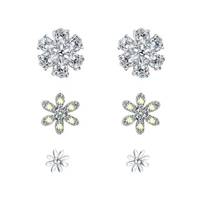 Wholesale 925 sterling silver jewelry cubic zirconia diamond stud earrings